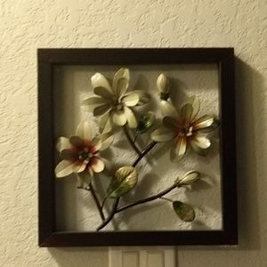 Framed metal flowers